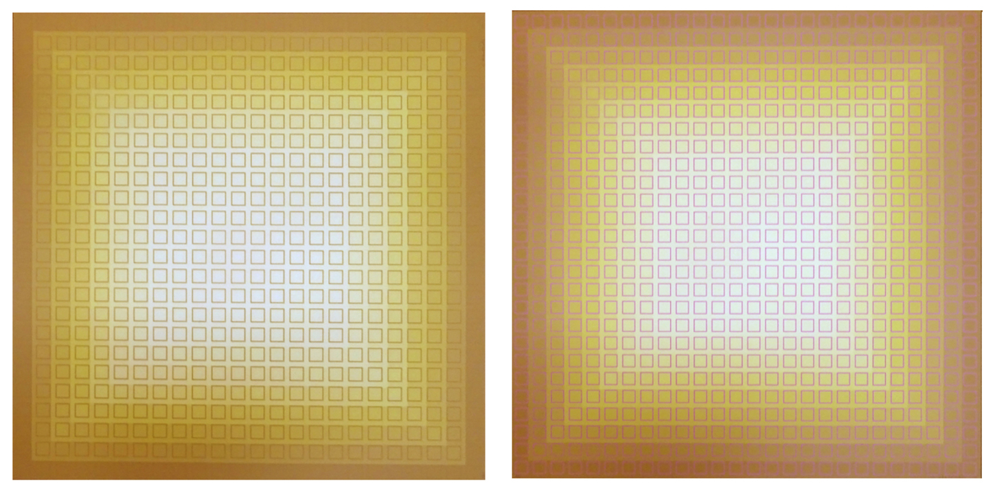 Fliration Nine — Ochre + Pink and Ochre + Yellow, 1977, 26.25x25 and 24x25, Ed. 20